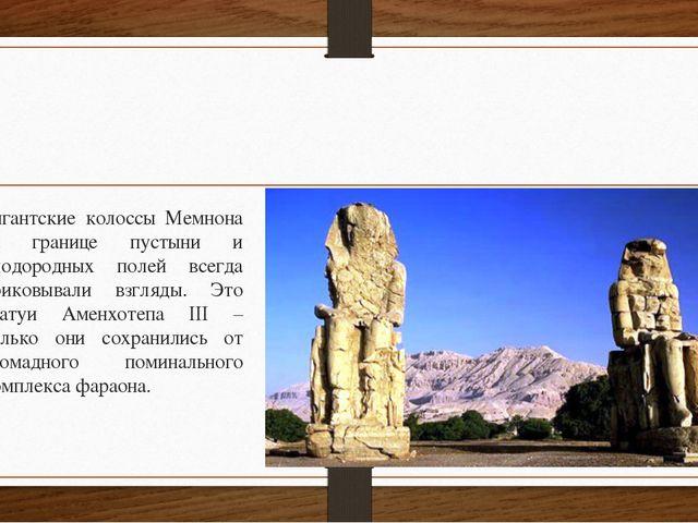 Гигантские колоссы Мемнона на границе пустыни и плодородных полей всегда при...