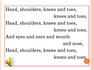 Head, shoulders, knees and toes, knees and toes, Head, shoulders, knees and t