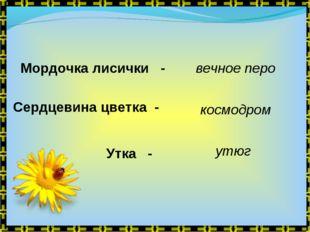 Мордочка лисички - Сердцевина цветка - Утка - вечное перо космодром утюг
