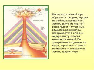 Как только в земной коре образуется трещина, идущая из глубины к поверхности