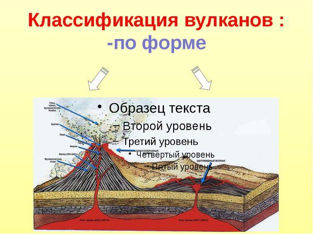 Классификация вулканов : -по форме