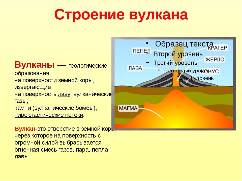 Строение вулкана Вулканы — геологические образования на поверхности земной ко...