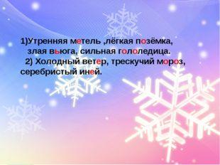 1)Утренняя метель ,лёгкая позёмка, злая вьюга, сильная гололедица. 2) Холодны