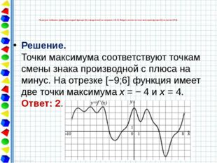 Решение. Точки максимума соответствуют точкам смены знака производной с плюса
