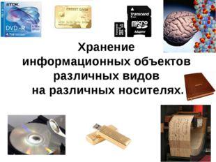 Хранение информационных объектов различных видов на различных носителях.