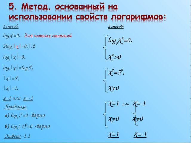 1 способ: log5x2=0, - для четных степеней 2log5|x|=0,|:2 log5|x|=0, log5|x|=l...