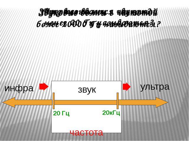 Что называется звуком? звук частота 20 Гц 20кГц инфра ультра Звуковые волны с...
