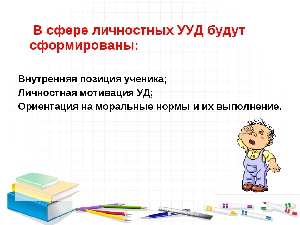 В сфере личностных УУД будут сформированы: Внутренняя позиция ученика; Лично...