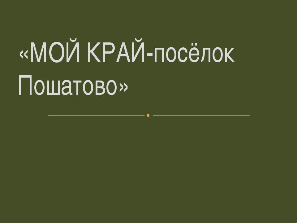 «МОЙ КРАЙ-посёлок Пошатово»