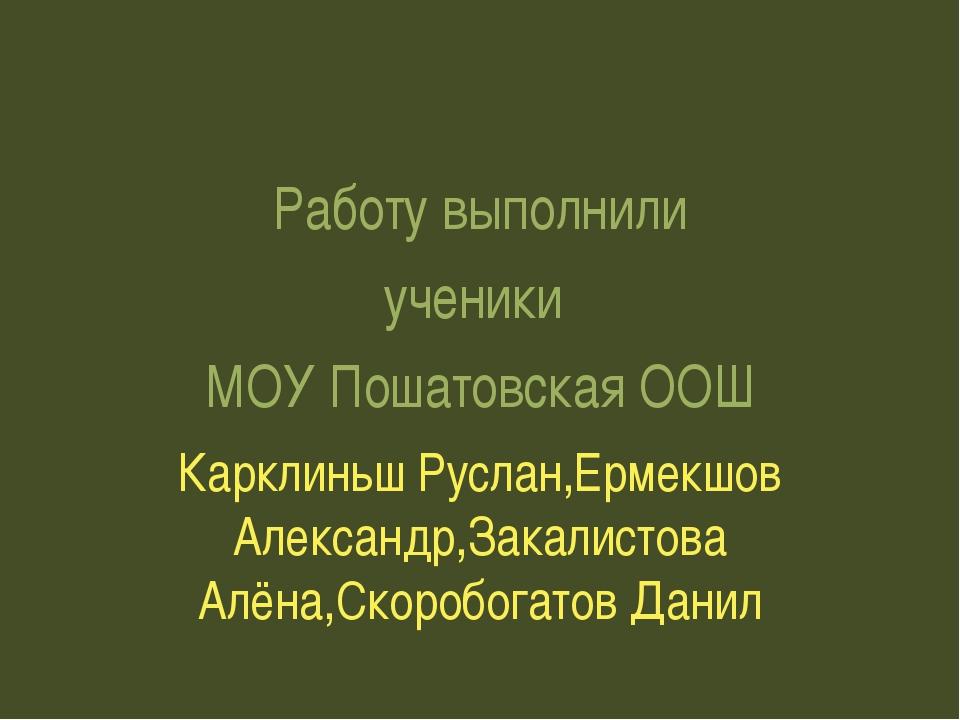 Работу выполнили ученики МОУ Пошатовская ООШ Карклиньш Руслан,Ермекшов Алекс...