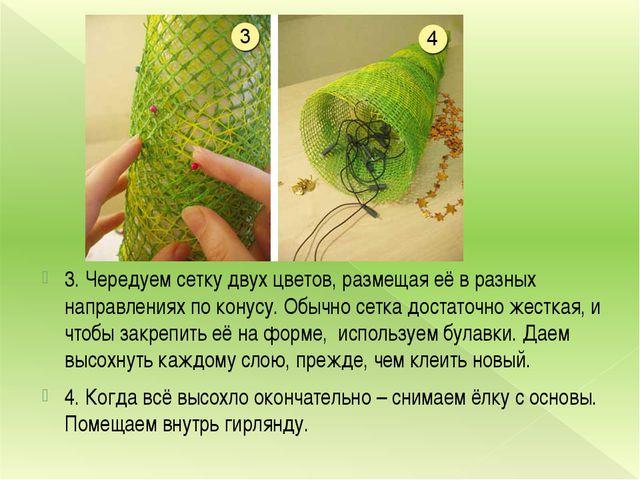 3. Чередуем сетку двух цветов, размещая её в разных направлениях по конусу. О...