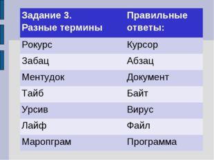 Задание 3. Разные терминыПравильные ответы: РокурсКурсор ЗабацАбзац Менту