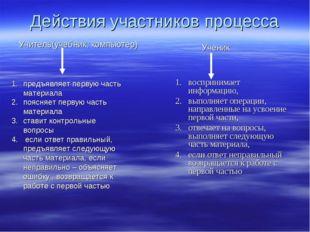 Действия участников процесса воспринимает информацию, выполняет операции, нап