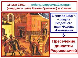 15 мая 1591 г. – гибель царевича Дмитрия (младшего сына Ивана Грозного) в Угл