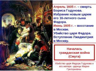 Апрель 1605 г. – смерть Бориса Годунова. Избрание новым царем его 16-летного