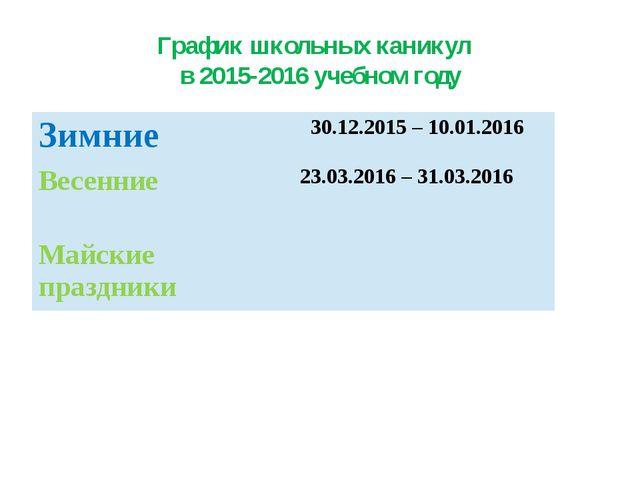 График школьных каникул в 2015-2016 учебном году Зимние  30.12.2015 – 10.01...