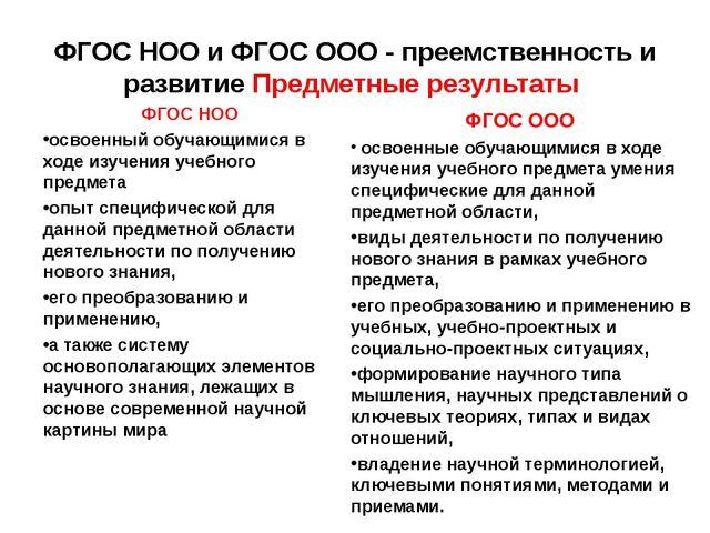 ФГОС НОО и ФГОС ООО - преемственность и развитие Предметные результаты ФГОС Н...