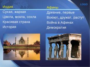 Индия Сухая, жаркая Цвела, мокла, сохла Красивая страна История Афины Древние