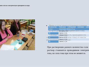 4.4 Влияние соли на электрическую проводимость воды. Цель: в ходе опыта уста