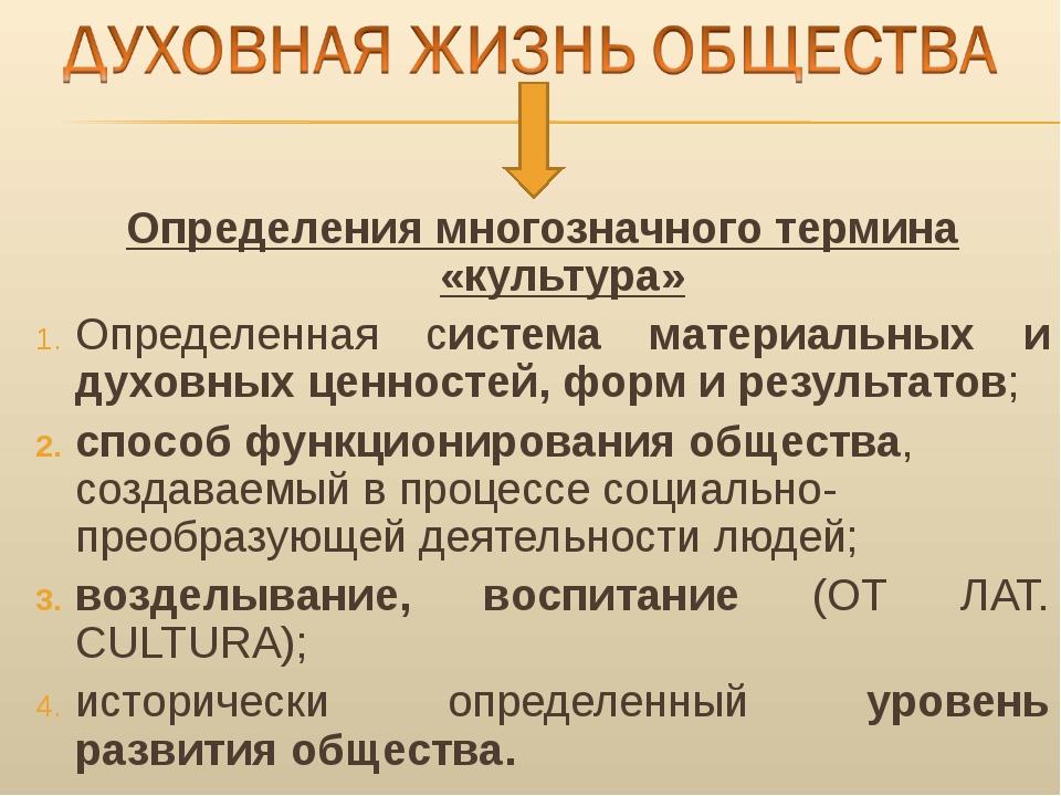 Определения многозначного термина «культура» Определенная система материальны...