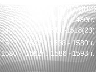 14 ХРОНОЛОГИЧЕСКАЯ ЛИНИЯ 65 - 1474гг. 1474 - 1480гг. 1480 - 1511гг. 1511 - 1