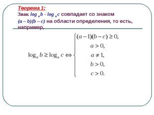 Теорема 1: Знак log a b - log a c совпадает со знаком (a – b)(b – c) на облас