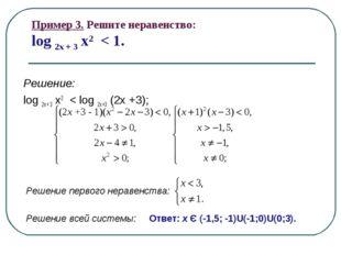 Пример 3. Решите неравенство: log 2x + 3 x2 < 1. Решение: log 2х + 3 x2 < log