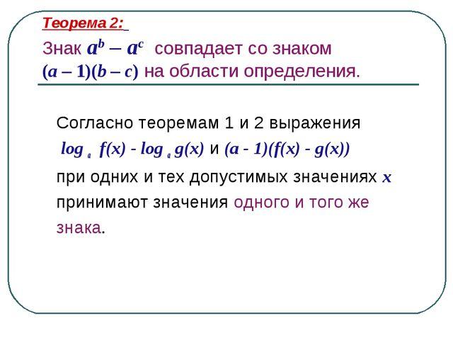 Теорема 2: Знак ab – ac совпадает со знаком (a – 1)(b – c) на области определ...