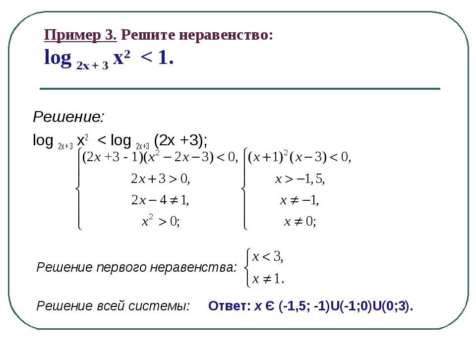 Пример 3. Решите неравенство: log 2x + 3 x2 < 1. Решение: log 2х + 3 x2 < log...