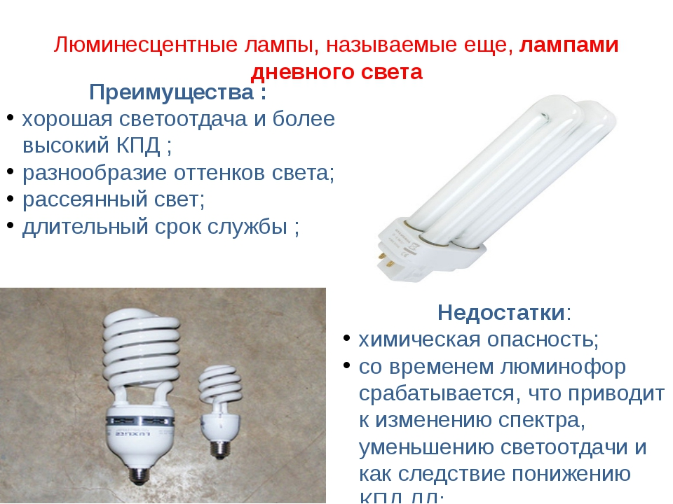 Люминесцентные лампы, называемые еще,лампами дневного света Преимущества : х...