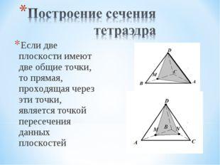 Если две плоскости имеют две общие точки, то прямая, проходящая через эти точ