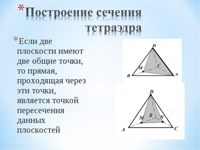 Если две плоскости имеют две общие точки, то прямая, проходящая через эти точ...