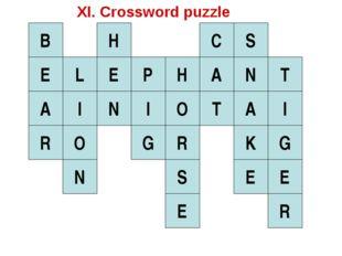 E L I O N E H N B A R I P H G O R S E A C T S N A K E T I G E R XI. Crossword