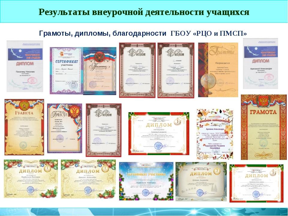 Результаты внеурочной деятельности учащихся Грамоты, дипломы, благодарности Г...