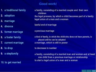 Good work! a traditional family adoption marriage divorce former marriage a f