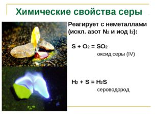 Реагирует с неметаллами (искл. азот N2 и иод I2): S + O2 = SO2 оксид серы (IV