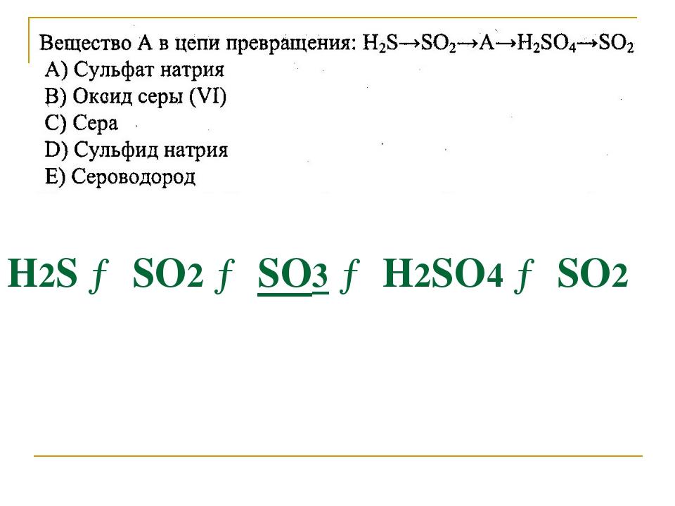 Н2S → SО2 → SО3 → Н2SО4 → SО2