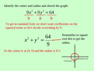Identify the center and radius and sketch the graph: To get in standard form