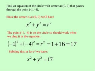 Find an equation of the circle with center at (0, 0) that passes through the