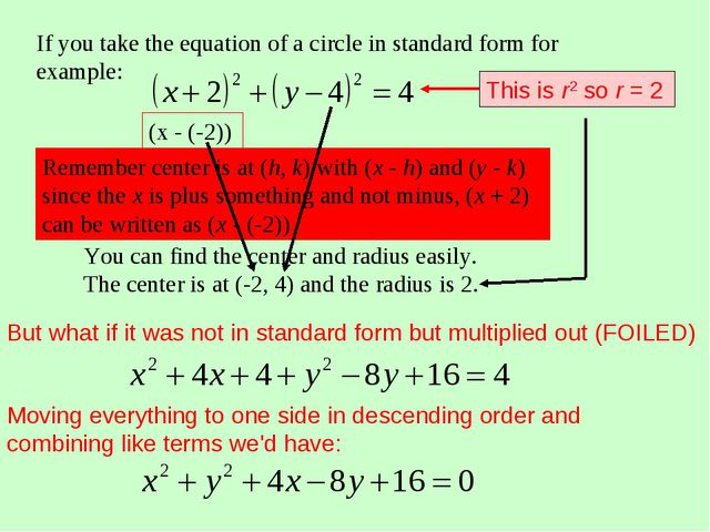 If you take the equation of a circle in standard form for example: You can fi...