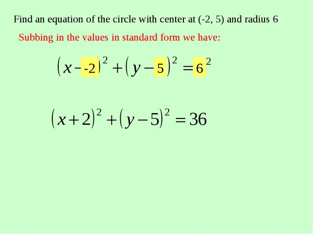 Find an equation of the circle with center at (-2, 5) and radius 6 Subbing in...