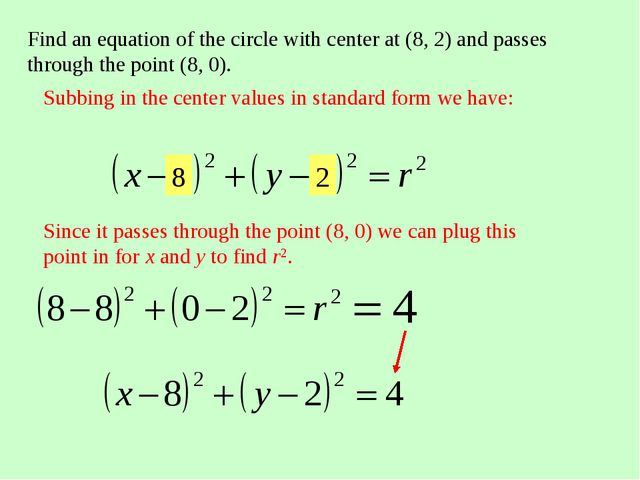 Find an equation of the circle with center at (8, 2) and passes through the p...