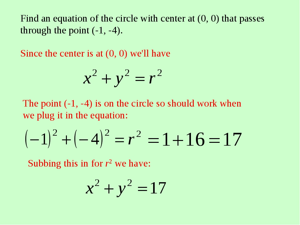 Find an equation of the circle with center at (0, 0) that passes through the...