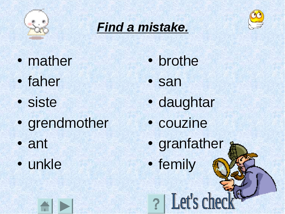 Find a mistake. mather faher siste grendmother ant unkle brothe san daughtar...