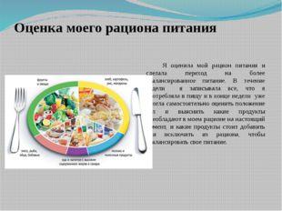Оценка моего рациона питания Я оценила мой рацион питания и сделала переход н