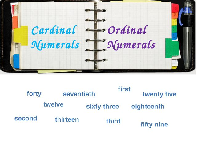 Cardinal Numerals Ordinal Numerals forty seventieth twelve first sixty three...