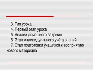 3. Тип урока 4. Первый этап урока 5. Анализ домашнего задания 6. Этап индиви