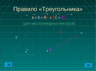 Правило «Треугольника» a + b = AB + BC = AC (для неколлинеарных векторов) b a