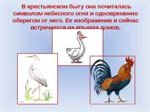В крестьянском быту она почиталась символом небесного огня и одновременно об