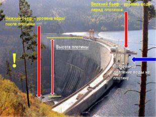 Верхний бьеф – уровень воды перед плотиной. Нижний бьеф – уровень воды после